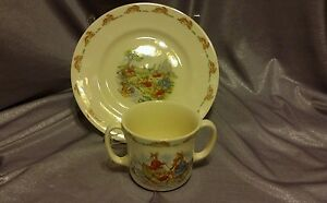 Royal Doulton Bunnykins beige ,red child Plate and Cup