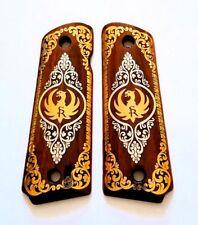 1911 Ruger SR1911 custom engraved wood grips gold silver Scroll Dragon Logo
