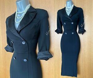 Karen Millen UK 8 Collared Black Safari 3/4 Sleeve Shirt Style Work Pencil Dress