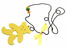 Kids Jewellery Yellow long black ball chain necklace llarge wooden teddy pendant