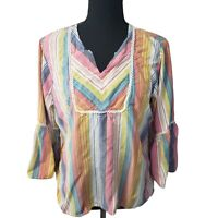Rebecca Malone Striped Smock Style Shirt Bell Sleeves Embroidered Detailing Lg
