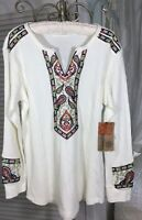 New Plus Size 1X Ivory Top Waffle Knit Embroidered Paisley Blouse Shirt $64