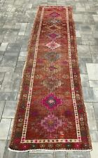 """Turkish Wool Runner, Vintage Hand Knotted Soft Pile 10'5""""x 2'7"""" FREE SHIPPING!"""
