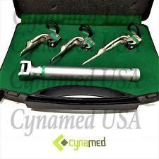 CynaMed Premium Fiber Optic Miller Laryngoscope Set with Hard BLK Plastic Case