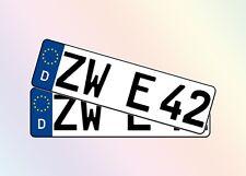 2 Kurze KFZ Kennzeichen 42cm x 11cm Autoschilder 1 Paar Satz Nummernschilder