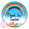 Thank You Teacher Rainbow Sweet Cone Sticker Gift Class End Of Year Labels