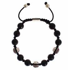 NWT NIALAYA Authentic Men's Black Agate Red CZ 925 Silver Bracelet s. M