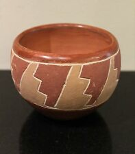 """Pit Fired Native American Pottery Bowl, Incised, 3"""" tall X 4.25"""" diameter"""