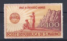 1946 SAN MARINO UNRRA  LIRE 100 BRUNO ARANCIO E VIOLETTO BRUNO SASS. N°296 MNH**