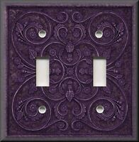 Metal Light Switch Plate Cover - Home Decor French Pattern Image Purple Decor