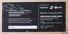 ANNIE LENNOX MITS Award 2013 unused event ticket MINT