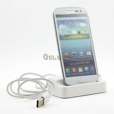 White USB Sync Charger Docking Station + 2M/6FT Cord for Samsung Galaxy S3 i9300