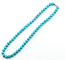 Manual creation 8 mm natural round turquoise bead necklace 18 inches