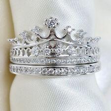 Stylish Women Silver Crown Party Ring Rhinestone Wedding Band Ring Set Size 7