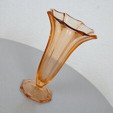 exklusive Rosalinglas Vase Blumenvase Tischvase Pressglas verziert 50er Jahre