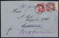 DR 1875, MiNr. 33 aa und 33 a auf einem Brief, Befund Jäschke-L., Mi. 350,-
