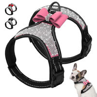 Bling Rhinestone Dog Harness Small Large Bowknot Strap Vest Reflective Chihuahua