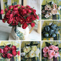 5 Heads Artificial Peony Flower Wedding Party Decor Fake Flowers Bridal Bouquet