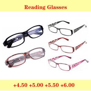 Trendy Reading Glases 4.50 5.00 5.50 6.00 Resin Lens Plastic Metal Frame Eyewear