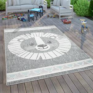 Kinderteppich Kinderzimmer Spielteppich Junge Mädchen 3D Effekt Löwe Grau
