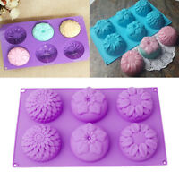 6 Silicone Flower Soap Cake Bread Mold Chocolate Jelly Baking Mould Muffin Tray
