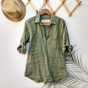 Bella Dahl Anthropologie Linen Popover Top Size S Olive Green Roll Tab Sleeves