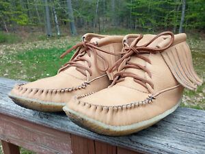 Men's Moose Hide Leather Fringed Moccasin Boots, Made in Canada, US12