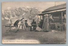 Telescope Man—Mont Blanc CHAMONIX Antique Alps CPA Alpine Lodge—Rare Antique