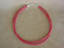 Native American Indian Jewelry Hand Strung 3 Strand Coral Necklace!