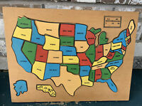 Vintage Handmade Wooden Puzzle Map USA, United States, Sturdy, Wood