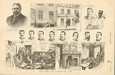 New York, The Tenderloin Club, Members, Interior, Vintage 1890 Antique Art Print