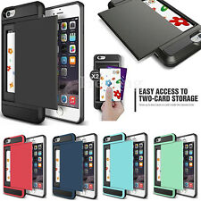Armor Case Slide Card Slot Holder Case Cover For iphone X 8 7 6S Plus XS Max XR