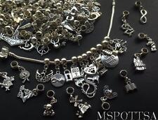 50pcs Mixed Pieces European Bracelet Charms Pendants Beads Sliders Jewelry lot