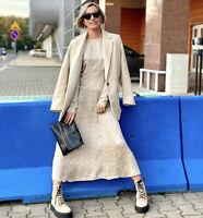 Zara AW20 Ecru Black Dot Printed Midi Dress Size L Sold Out BNWT