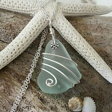 Handmade in Hawaii Wire wrapped seafoam glass necklace Hawaiian jewelry