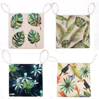 Home Green Printed Linen Cushion Seat Pad Dining Room Chair Mat with Tie On GIFT