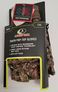 Mossy Oak Break-Up Country Pop-Top Camouflage Gloves Youth Size L/XL New