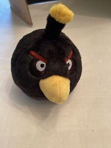 "Angry Birds Plush Black Bomb Bird Toy Stuffed Animal 7"" EUC"