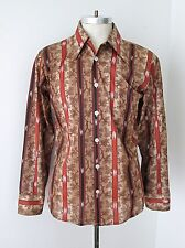 MINTY Vtg 70s Brown Rust Geometric Leaf Stripe Nylon Knit Disco Pimp Shirt M
