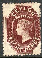 Ceylon 1867-70 chocolate 8d crown CC perf 12.5 mint SG68