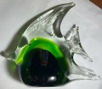 Clear Green & Cobalt Blue Hand Blown Glass Tropical Angelfish Fish Figurine