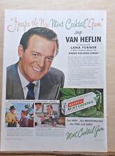 1947 magazine ad for Warren's Mint Cocktail Gum - Actor Van Heflin prefers it