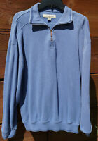 Tommy Bahama Mens 1/4 Zip 100% Cotton Pullover Blue Long Sleeve Size M  #V-3