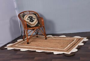 natural colour with white-brown border scalloped jute rug christmas decor rugs