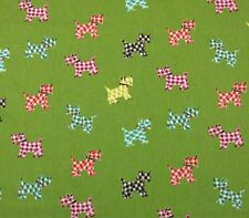 "P KAUFMANN HOTTIE SCOTTIE SPROUT LIME GREEN DOGS PUPPY FABRIC BY THE YARD 54""W"
