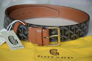 GOYARD Monogram BROWN Leather Belt SILVER Buckle sz 85 / 34 fits 28-30 Monogram