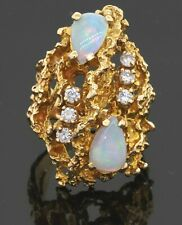Heavy 14K yellow gold 1.92CT diamond & opal free form cocktail ring size 6.5