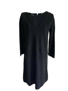 F&f Women's Tunic Jumper Size 12 Black 3/4 Sleeved Button Detail Crew Neck