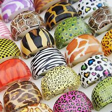 50pcs Animal Skin Mixed Resin Rings Wholesale Fashion Jewelry Job Lots