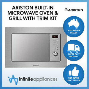 Ariston 20L Built-In Microwave & Grill In Stainless Steel With Trim Kit MWA122.1